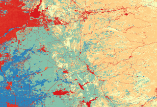 A map of land cover colorized in QGIS