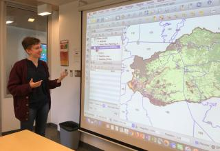 Presenting my map to the research team